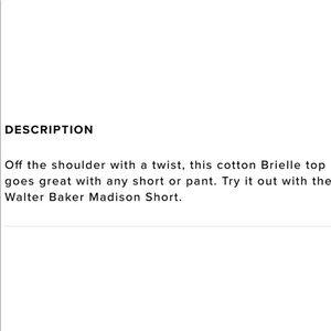 Walter Baker Tops - Walter Baker black off the shoulder top XS